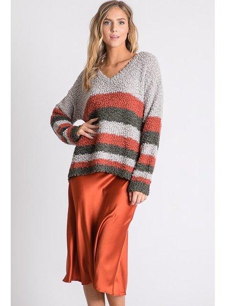 Aaron & Amber Aaron Soft Popcorn Striped Sweater