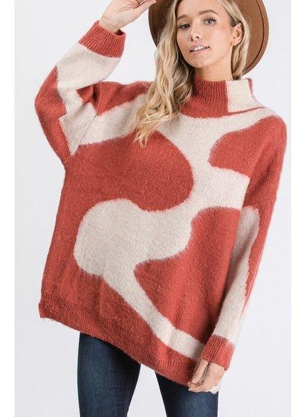 Aaron & Amber Aaron Jacquard Turtleneck Sweater Rust
