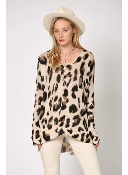 By Together By Together Leopard Taupe Sweater