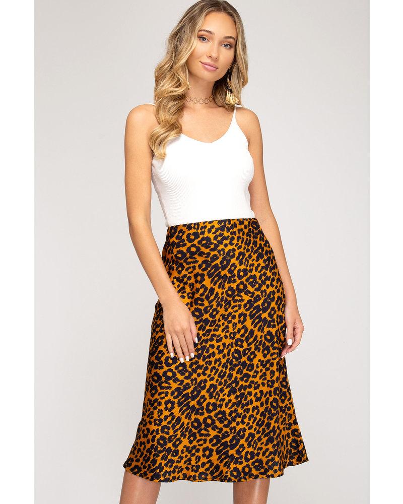 She & Sky She & Sky Leopard Printed Midi Skirt