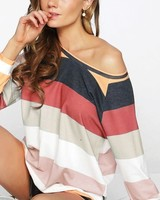 BIBI Bibi Multi Stripe French Terry Top Rust
