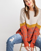 Easel Easel Spicy Rust Animal Pattern Sweater