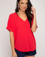 She & Sky She & Sky V Neck Drop Shoulder Top