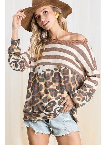 BIBI Bibi Striped Brown Animal Combo Top