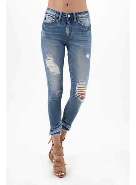 KanCan KanCan Distressed Raw Edge Denim