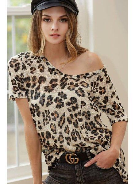 BIBI BIBI Leopard Pullover U Neck Top