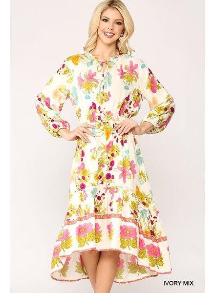 Gigio Gigio Floral Midi Dress Ivory