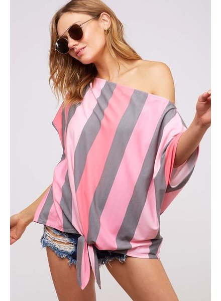 Fantastic Fawn Fantastic Fawn Off Shoulder Stripe Pink/Charcoal