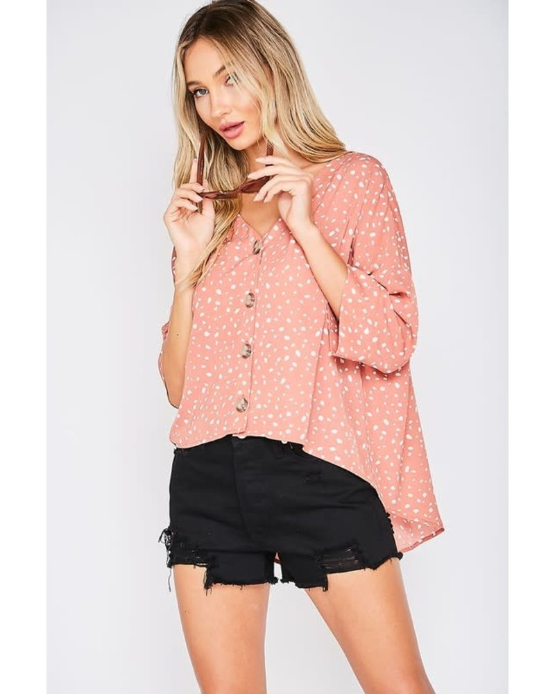 Vine & Love Vine & Love Button Up Dot Top