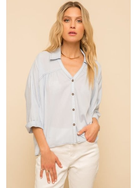 Hem & Thread Hem & Thread Gingham Shirt Sky Blue
