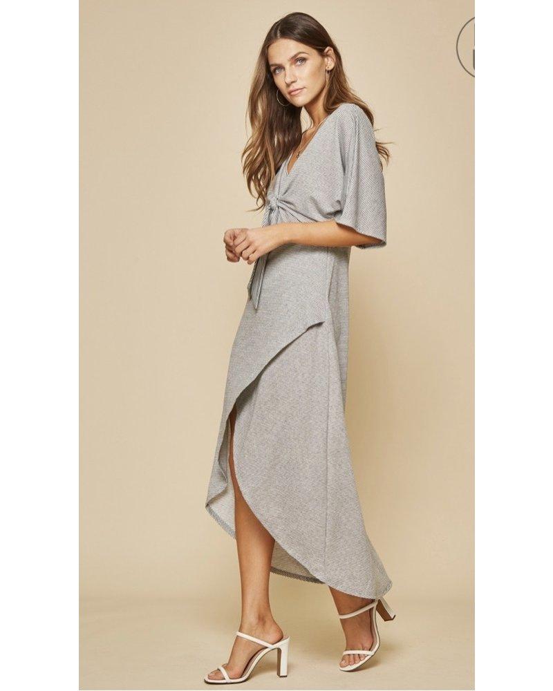 Wendy WEN Striped Tie Top Dress Hi/Lo