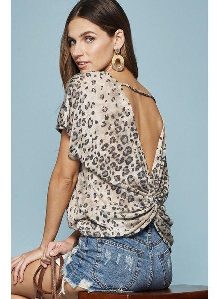 Wendy WEN Leopard Criss Cross Back Top