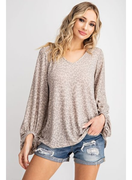143 Story 143 Animal Printed Bubble Sleeve Taupe