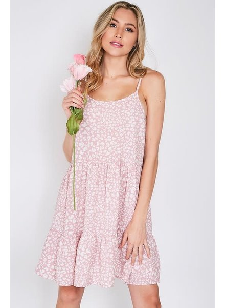 Vine & Love Vine & Love Blush Pink Animal Print Dress