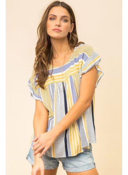Hem & Thread Hem & Thread Tie Back Ruffle Striped Top Blue/Mustard