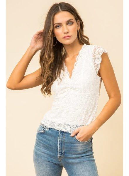 Hem & Thread Hem & Thread Lace White Scallop Edge Top