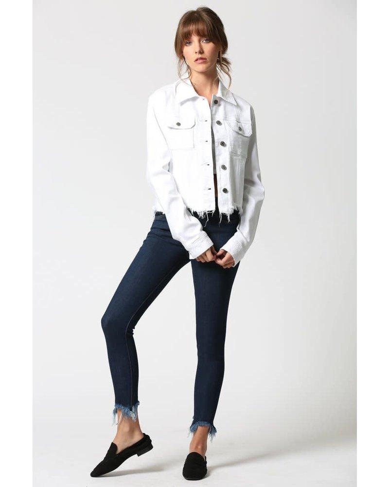 Hidden Jeans HIdden Frayed Denim Jacket WHITE