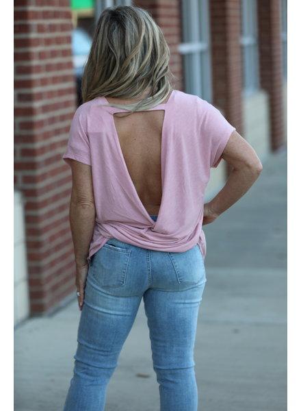 Gigio Gigio Pink Twist Top Back Top