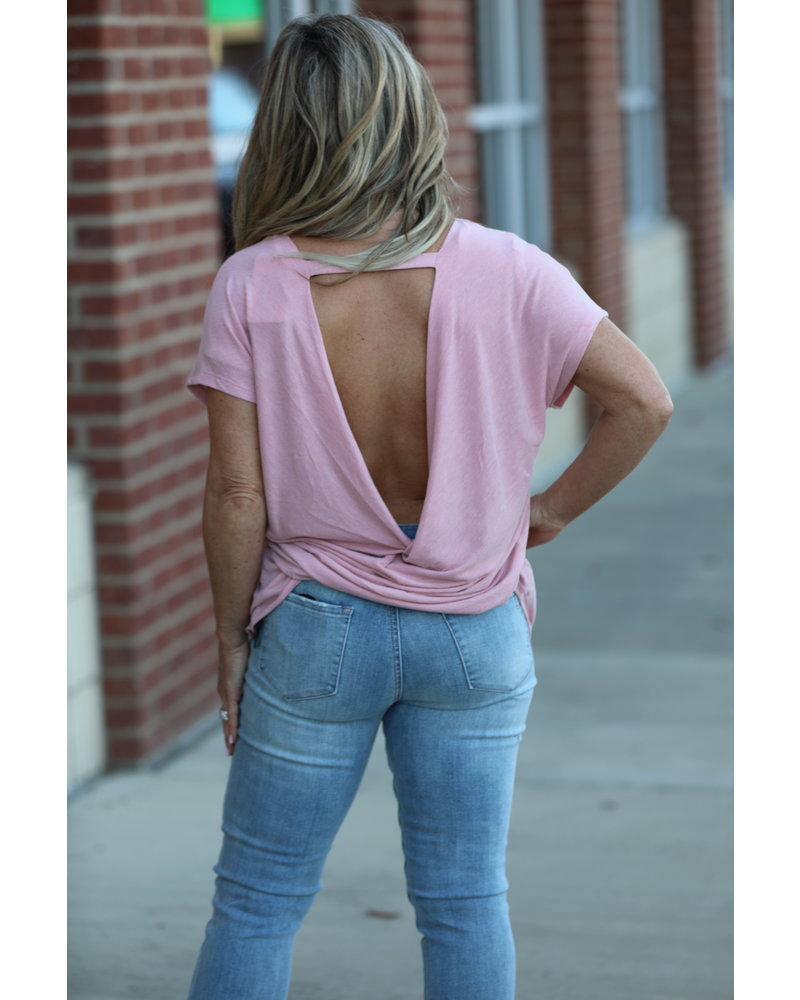 Gigio Gigio Pink Twist Top Back Top