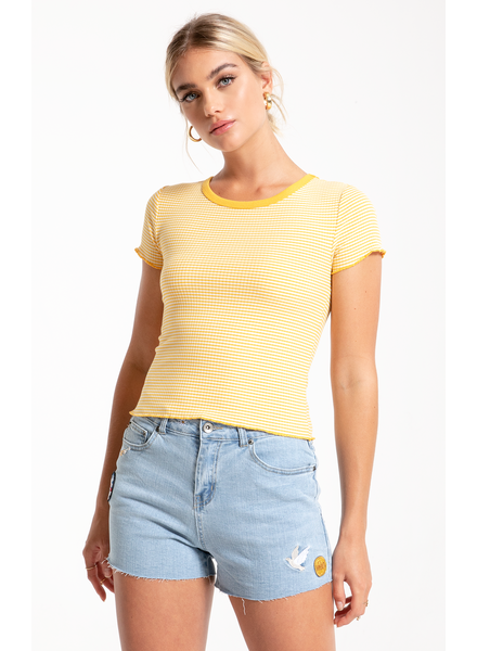 Others Follow Others Follow Baby Tee Yellow/White Ruffle