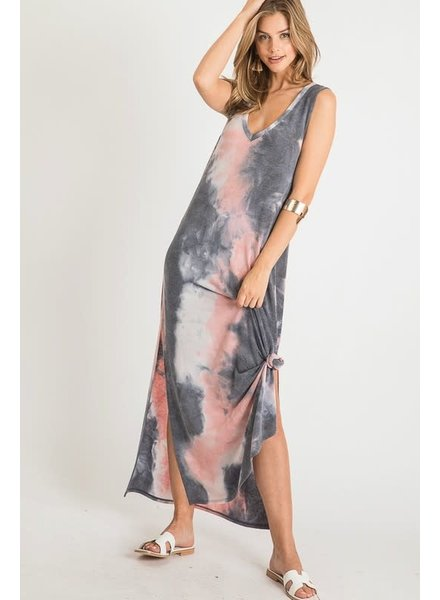 First Love First Love V Neck Tie Dye Maxi Dress