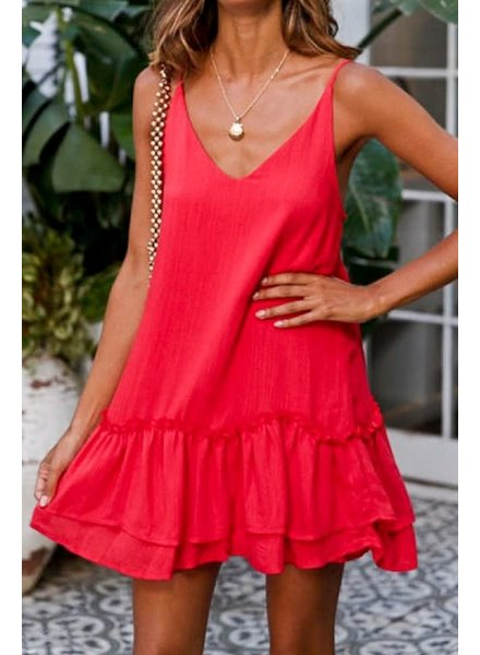 Mazik Mazik Cherry Red Ruffle Dress