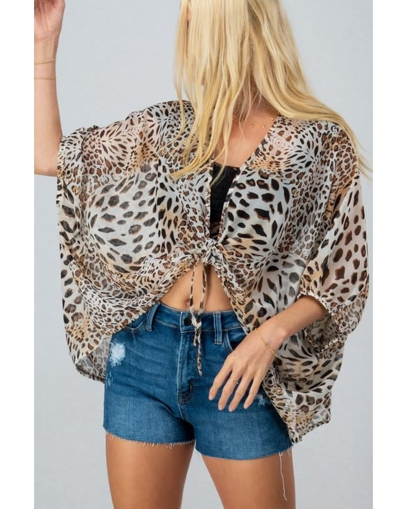 Trend Notes Trend Notes Sheer Leopard Kimono Cropped