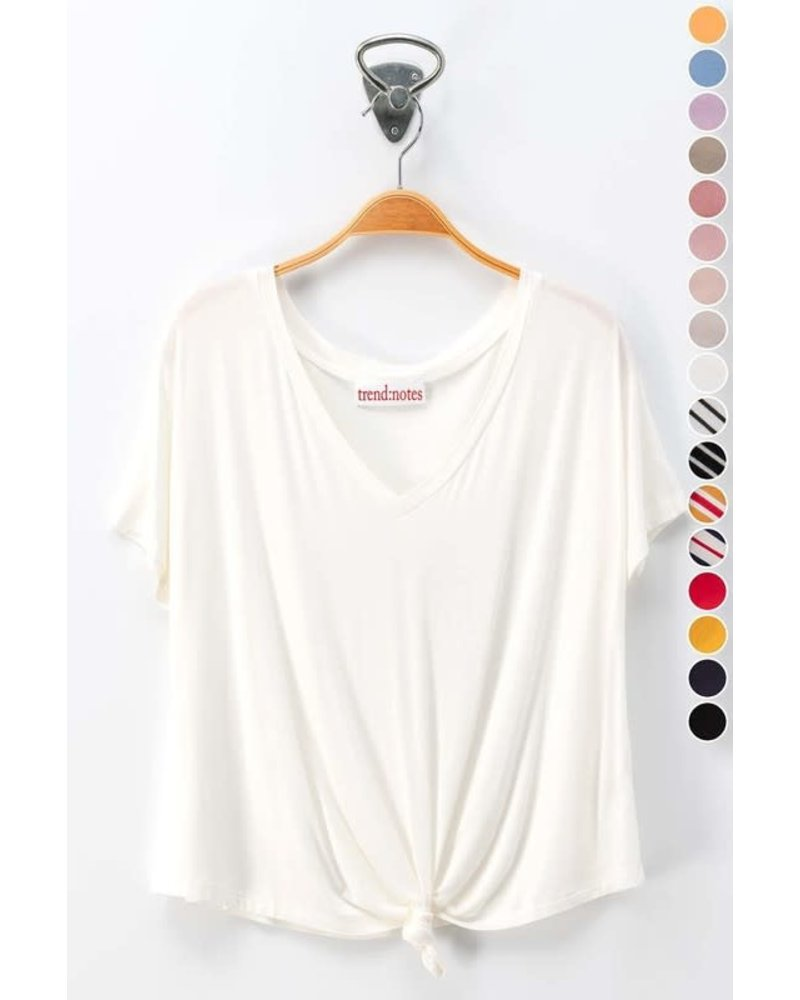 Trend Notes Trend Notes V Neck Tee Front Tie