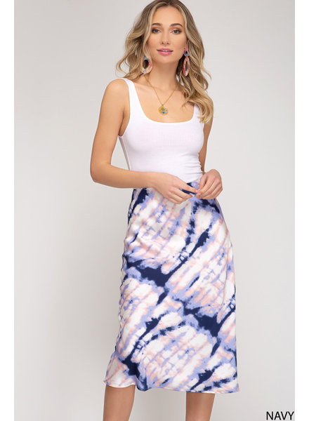 She & Sky She & Sky Tie Dye Woven Midi Skirt