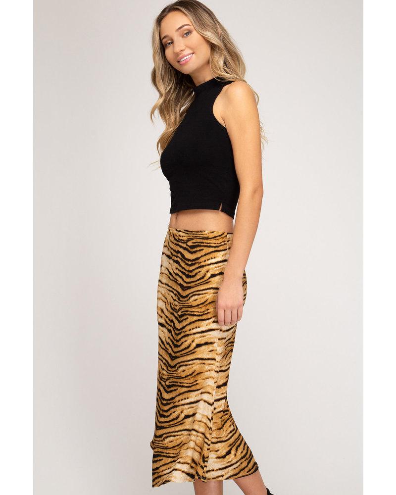 She & Sky She & Sky Tiger Midi Skirt Camel
