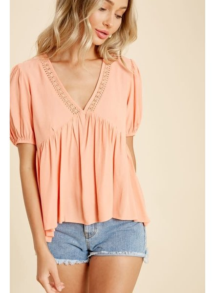 In Loom In Loom Babydoll Top Coral