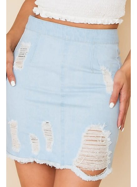 Peach Love Peach Love Denim Distressed Zip Back Skirt