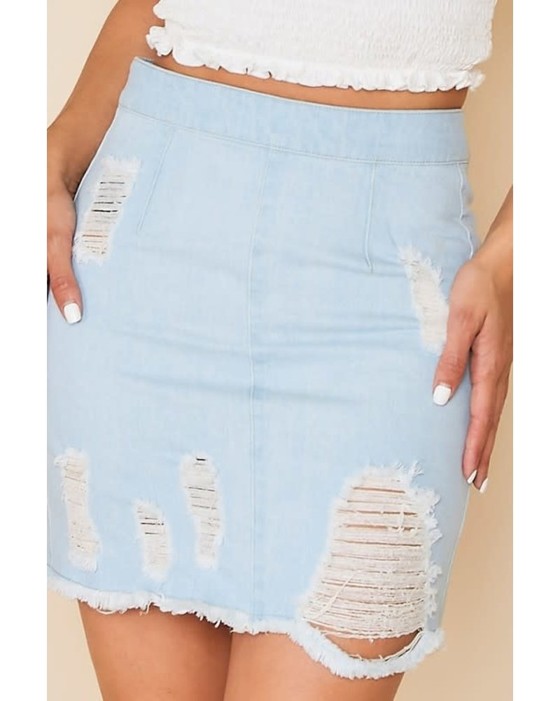 Peach Love Peach Love Denim Distressed Zip Back Skirt