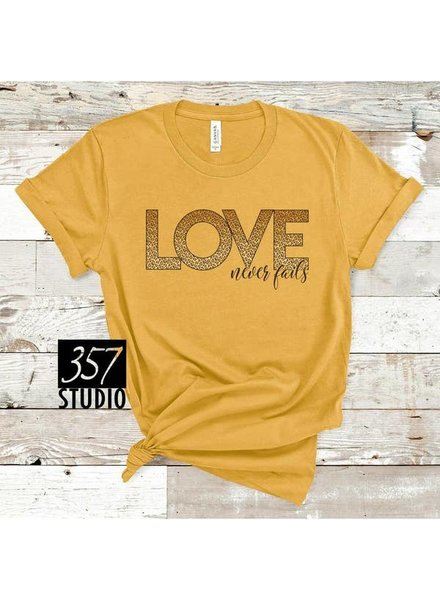 357 Studio 357 Love Never Fails Yellow Tee