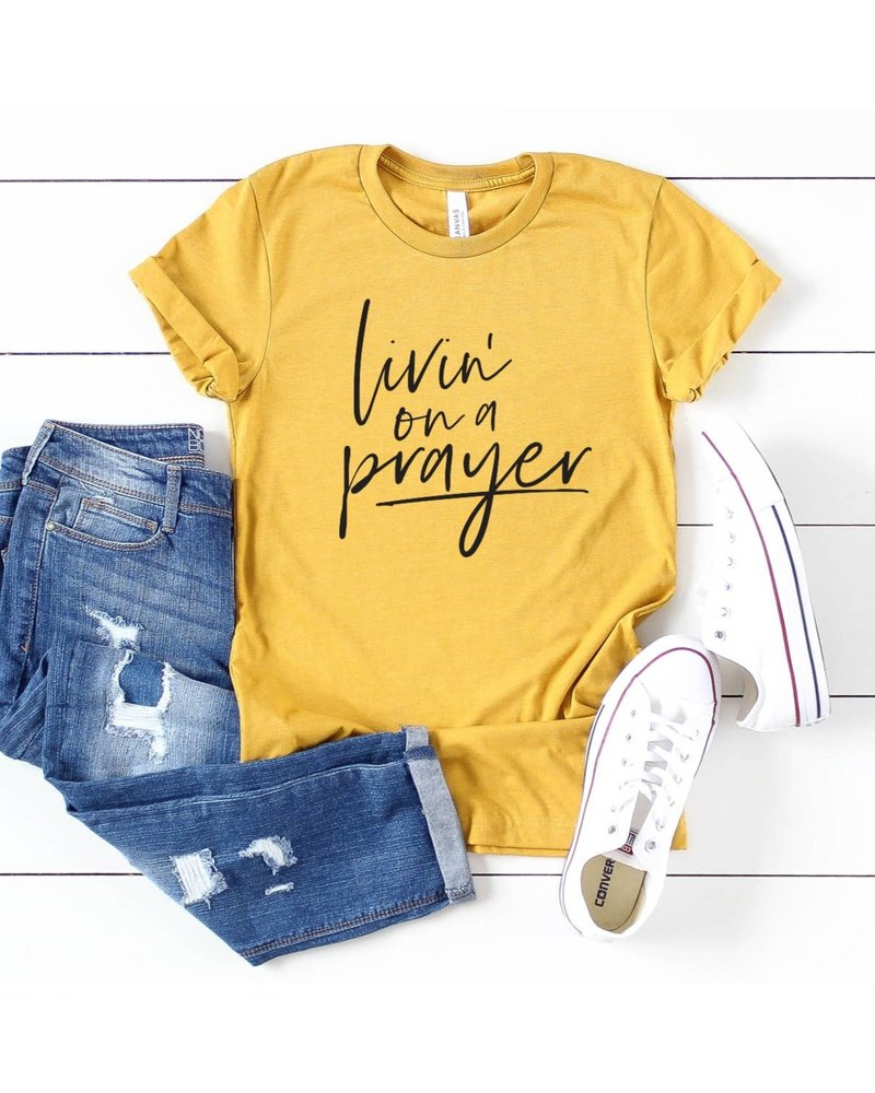 Top Crate Top Crate Livin On a Prayer Yellow Graphic Tee