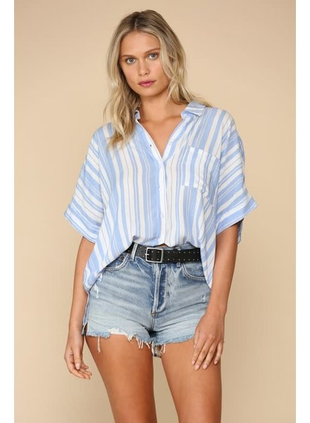 By Together By Together Button Up Short Sleeve Top Blue