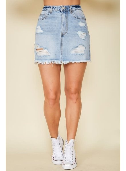 Peach Love Peach Love Distressed Denim Skirt