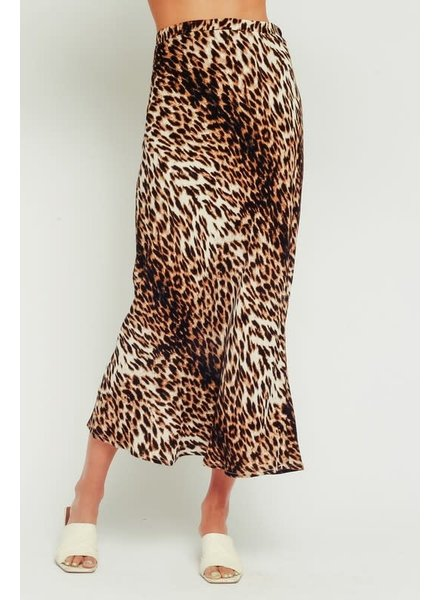 Olivaceous Olivaceous Leopard Print Midi Skirt