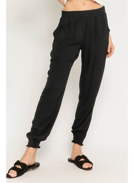 Olivaceous Olivaceous Black Jogger Pant Elastic Band Bottom