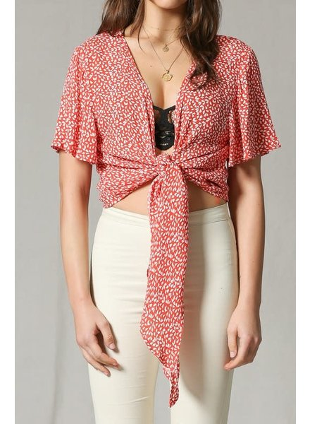 By Together By Together Cropped Kimono Tie Top