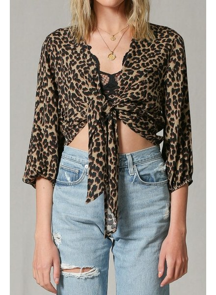 By Together By Together Leopard Crop Tie Top