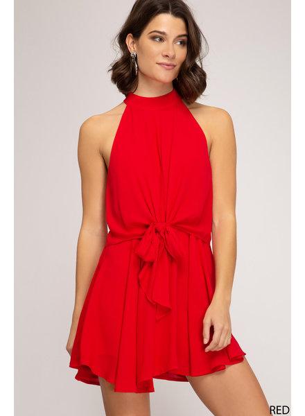 She & Sky She & Sky Front Tie Romper Red