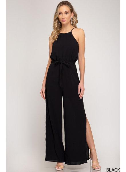 She & Sky She & Sky Pantsuit Side Slits Black