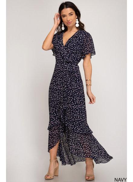 She & Sky She & Sky Wrap Dress Printed Navy