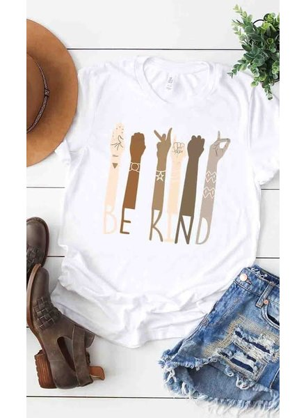 Kissed Apparel Kissed Apparel Be Kind Sign Language White Tee