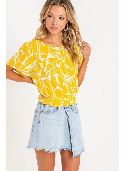 Lush Lush Sunny Yellow Tie Back Top
