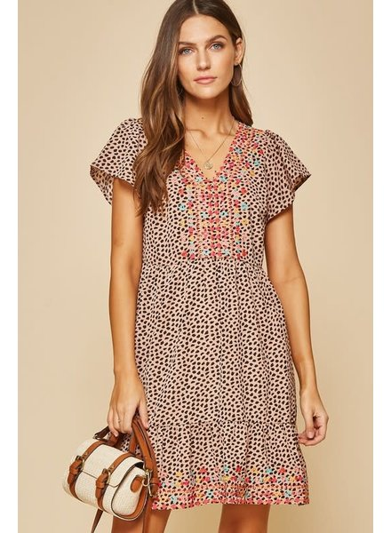 Andree Andree Baby Doll Leopard Emb Dress