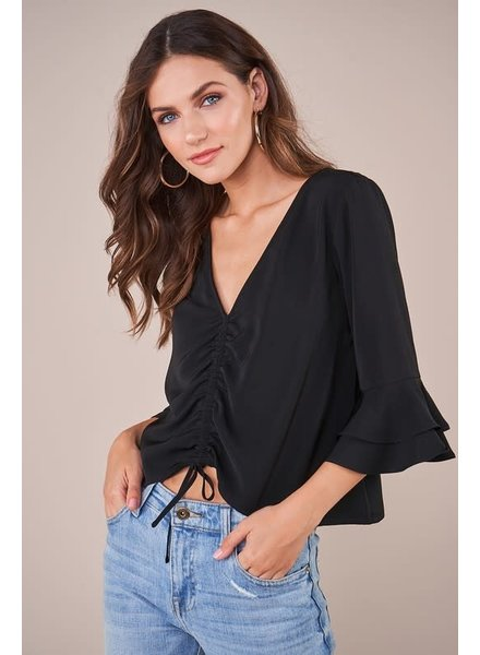 Sugar Lips Sugar Lips Ruched Bell Sleeve Top Black