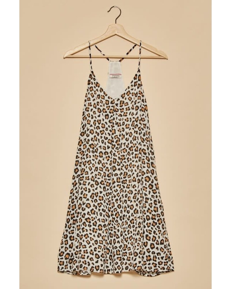 Andree Andree Leopard White Racer Back Dress