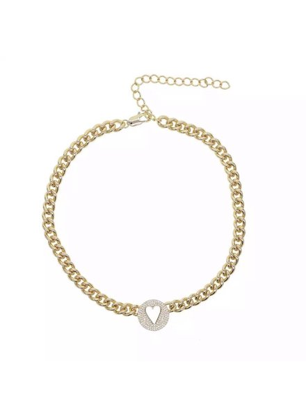 Sahira Sahira Pave Heart Chain Necklace GOLD